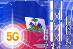 Haiti 5G przemysłowa ilustracja, ogromny komórkowy sieć maszt lub wierza na techniki tle z flagą, - 3D ilustracja ilustracji