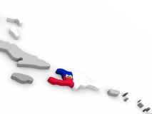 Haiti on globe with flag Stock Images