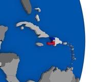 Haiti on globe with flag Royalty Free Stock Image
