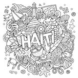 Haiti hand lettering and doodles elements background Royalty Free Stock Image