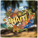 Haiti hand lettering and doodles elements emblem Stock Photos