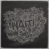 Haiti hand lettering and doodles elements and Royalty Free Stock Photos