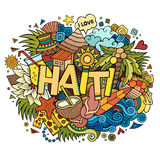 Haiti hand lettering and doodles elements Royalty Free Stock Images