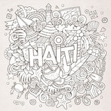 Haiti hand lettering and doodles elements Stock Image