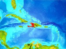 Haiti in red on Earth Stock Photography