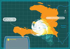 Haiti with a Hurricane making a landfall at capital Port-au-prince . Editable Clip Art. royalty free illustration