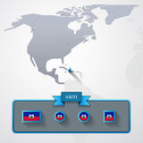 Haiti info card. Haiti on the map of North America with flags Royalty Free Stock Images