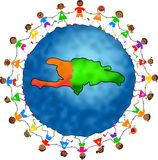 Haiti kids. Illustration of a world globe featuring a map of Haiti and surrounded by little children holding hands Stock Image