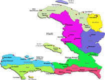 Haiti map. Color Haiti map with regions on a white background stock illustration