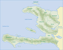 Haiti map. Map of Haiti area name and relief of moutains Royalty Free Stock Photography