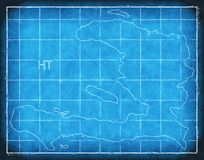 Haiti map blue print artwork illustration silhouette Royalty Free Stock Images
