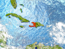 Haiti on map with clouds Royalty Free Stock Image