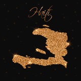 Haiti map filled with golden glitter. Royalty Free Stock Image