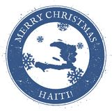 Haiti map. Vintage Merry Christmas Haiti Stamp. Stock Images