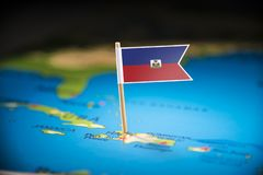Haiti marked with a flag on the map.  stock photography