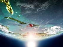 Haiti mit Sonne auf Planet Erde Lizenzfreie Stockfotos