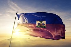Haiti national flag textile cloth fabric waving on the top stock illustration