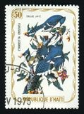 HAITI - OKOŁO 1975: Poczta znaczek drukujący w Haiti pokazuje Błękitnego Jay, serie poświęcać ptaki około 1975, Obraz Royalty Free