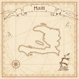 Haiti old treasure map. Stock Photos