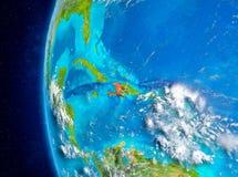 Haiti på jord från utrymme Arkivbild