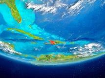 Haiti på jordklotet från utrymme Arkivbilder