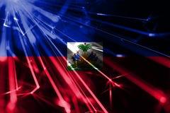 Haiti shining fireworks sparkling flag. New Year 2019 and Christmas futuristic shiny party concept flag. Haiti shining fireworks sparkling flag. New Year 2019 royalty free illustration