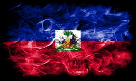 Haiti smoke flag on a black background.  stock images