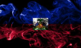 Haiti smoke flag on a black background.  royalty free stock images