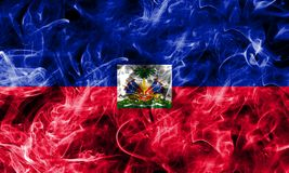 Haiti smoke flag isolated on a black background.  stock photos