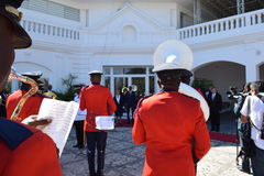 HAITI-VISIT. Military honor by the marching band of the National Palace of Haiti Stock Image