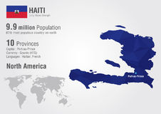 Haiti world map with a pixel diamond texture. World geography Royalty Free Stock Images