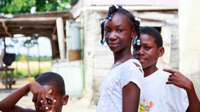 Haitian children in refugee camp Royalty Free Stock Photos