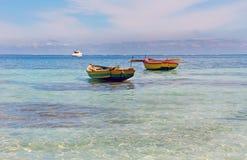 Haitian Fishing Boats. Old fishing boats near Labadee, Haiti Royalty Free Stock Images