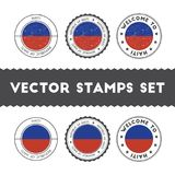 Haitian flag rubber stamps set. National flags grunge stamps. Country round badges collection Stock Photos