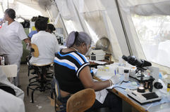 Haitian Hospital. PORT-AU-PRINCE - AUGUST 26: An Haitian pathologist testing blood samples of patients in a temporary pathological tent on August 26 2010 in Royalty Free Stock Images