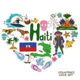 Haitian symbols in heart shape concept Royalty Free Stock Photography