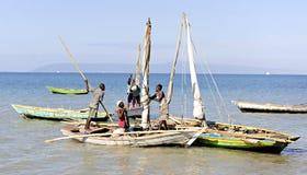 Haitians Preparing to Fish stock images