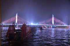 Haiyin Bridge on the Pearl River in Guangzhou Canton China. Night View of the Haiyin Bridge on the Pearl River in Guangzhou China stock images