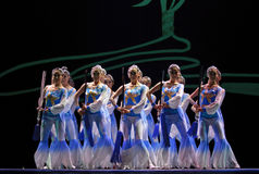HAIZHENG art troupe perform group dance. CHENGDU - DEC 10: HAIZHENG art troupe perform group dance Sword Orchid at JINCHENG theater in the 7th national dance royalty free stock image