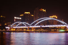 Haizhu bridge over Pearl river at night Royalty Free Stock Images