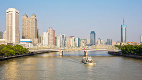 The Haizhu bridge and the pearl river Royalty Free Stock Photography