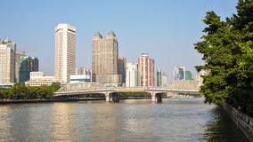 The Haizhu bridge and the pearl river Royalty Free Stock Photos