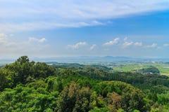 从Haizuka观测所的看法在kikuchi城堡附近 库存图片