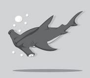 Haj för tecknad filmhammarefisk Royaltyfri Illustrationer
