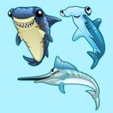 Haj, hammerhead och svärdfisk på blå bakgrund stock illustrationer