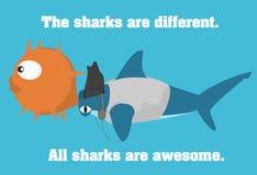 Hajar är enorma Illustration av hammerheadhajen med headphonen som blåser upp fiskgatubarnet Arkivfoton
