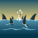 Hajar anfaller affärsmannen som drunknar i havet Vektorfena vektor illustrationer