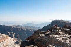 Hajar mountain range and Grand Canyon Oman Stock Photo