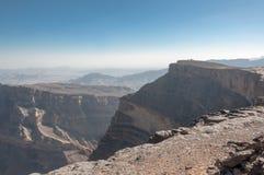 Hajar mountain range and Grand Canyon Oman Royalty Free Stock Images