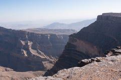 Hajar mountain range and Grand Canyon Oman Stock Photography